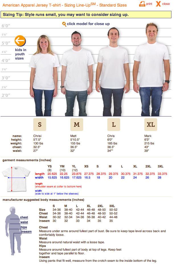 american apparel 2001 tshirt sizing chart